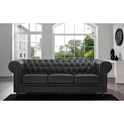 Elstone Tufted Back Chesterfield Sofa Upholstery: Black