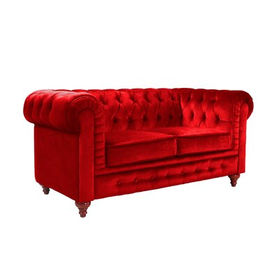 Elstone Chesterfield Loveseat Upholstery: Red