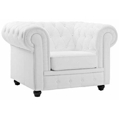 Elstone Classic Chesterfield Chair Color: Off-White