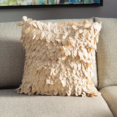 Tonnele Ruffle Throw Pillow Size: 22 H x 22 W x 4 D, Color: Beige, Fill: Down