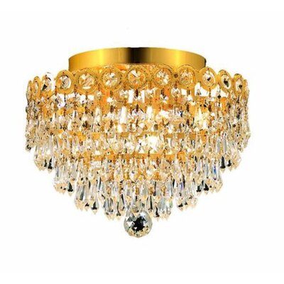 Alasdair 4-Light Semi Flush Mount Finish: Gold, Crystal Grade: Royal Cut