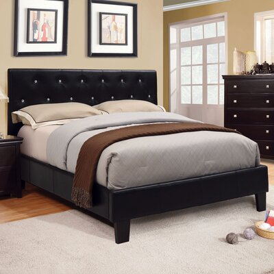 Adison Upholstered Platform Bed Size: California King, Upholstery: Black
