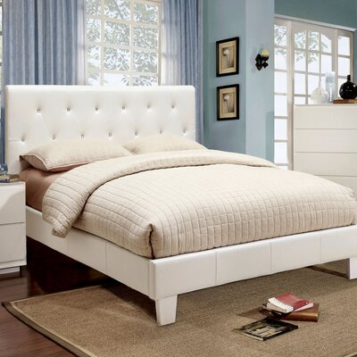 Adison Upholstered Platform Bed Size: Twin, Upholstery: White