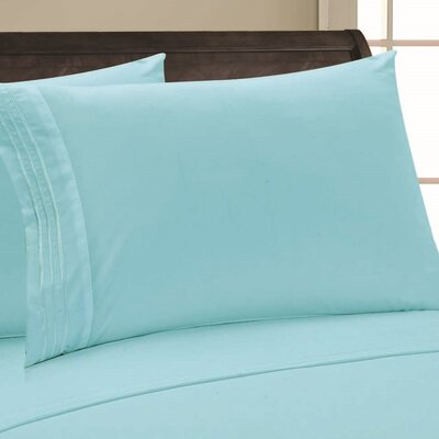 Eliana 1500 Thread Count Pillowcase Size: Full/Queen, Color: Aqua