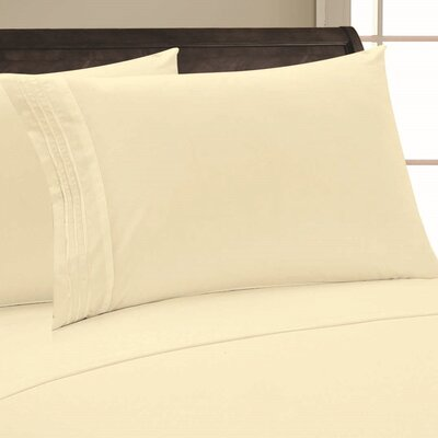 Adelina 1500 Thread Count Pillowcase Color: Beige, Size: King
