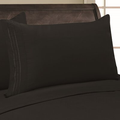 Eliana 1500 Thread Count Pillowcase Color: Black, Size: Full/Queen