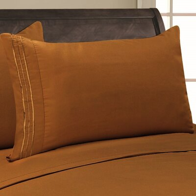 Eliana 1500 Thread Count Pillowcase Color: Bronze, Size: King