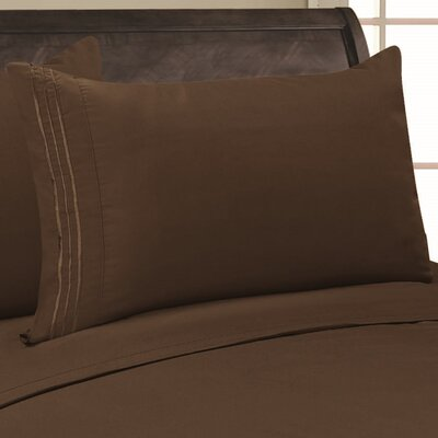 Eliana 1500 Thread Count Pillowcase Color: Brown, Size: Full/Queen
