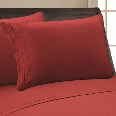 Eliana 1500 Thread Count Pillowcase Color: Burgundy, Size: Full/Queen