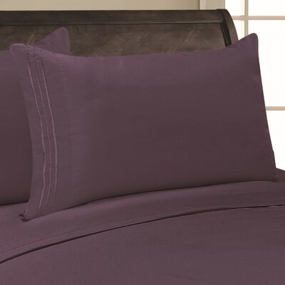 Eliana 1500 Thread Count Pillowcase Color: Purple, Size: Full/Queen