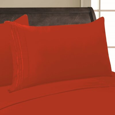 Adelina 1500 Thread Count Pillowcase Color: Rust, Size: King