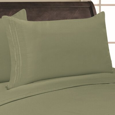 Eliana 1500 Thread Count Pillowcase Color: Sage, Size: Full/Queen