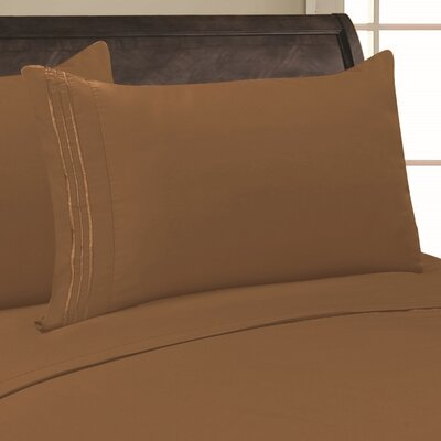 Eliana 1500 Thread Count Pillowcase Color: Taupe, Size: King