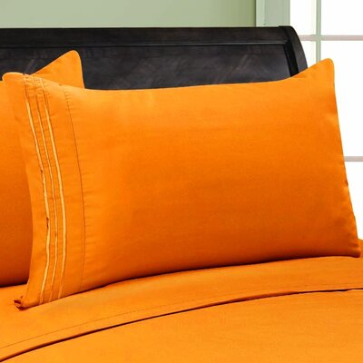 Eliana 1500 Thread Count Pillowcase Color: Elite Orange, Size: Full/Queen