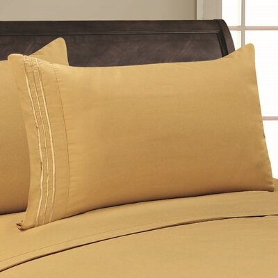 Adelina 1500 Thread Count Pillowcase Color: Gold, Size: King
