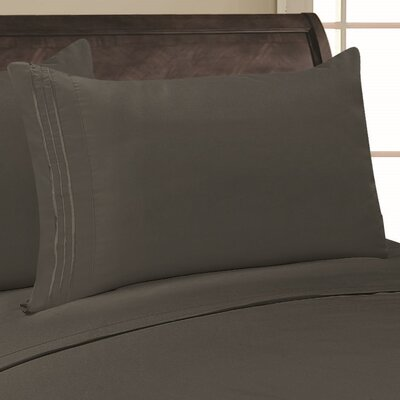 Eliana 1500 Thread Count Pillowcase Color: Gray, Size: King