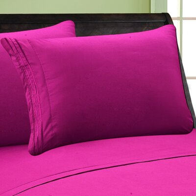 Eliana 1500 Thread Count Pillowcase Color: Hot Pink, Size: King