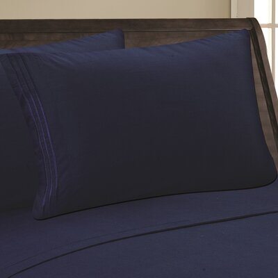 Eliana 1500 Thread Count Pillowcase Color: Navy, Size: Full/Queen