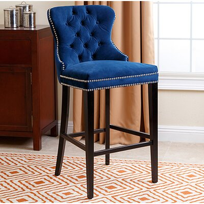 Zaphod 30 Bar Stool Upholstery: Navy Blue