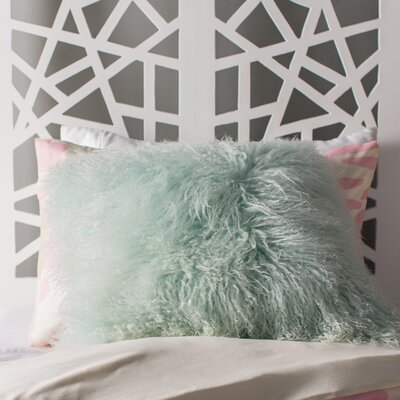 Paola Sheepskin Throw Pillow Color: Seafoam