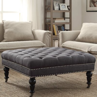 Gahn Square Tufted Ottoman Upholstery: Charcoal