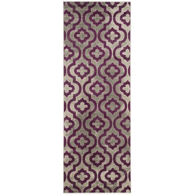 Manorhaven Light Gray/Purple Area Rug Rug Size: Runner 24 x 9