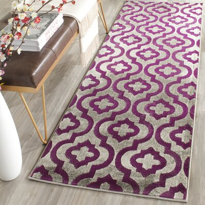 Krenwik Light Gray/Purple Area Rug Rug Size: Runner 2'4