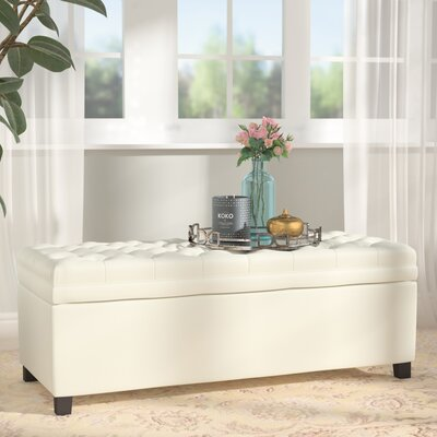 Cunningham Upholstered Storage Bench Upholstery: Ivory