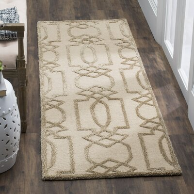 Mcguire Hand-Tufted Sand/Brown Area Rug Rug Size: Square 5