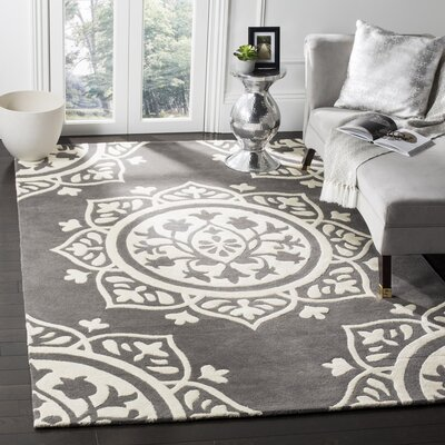 Romford Hand-Tufted Gray Area Rug Rug Size: Square 5