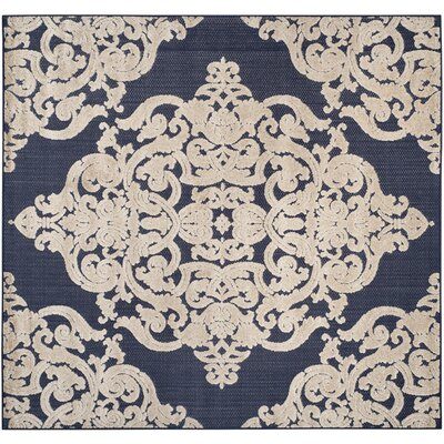 Mira Medallion Navy Indoor/Outdoor Area Rug Rug Size: Square 6'7