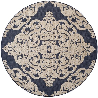 Mira Medallion Navy Indoor/Outdoor Area Rug Rug Size: Round 67 x 67