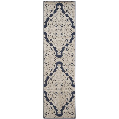 Mira Medallion Navy Indoor/Outdoor Area Rug Rug Size: Runner 23 x 8