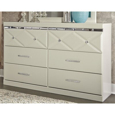 Redick 6 Drawer Double Dresser Color: Champagne