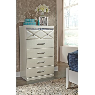 Redick 5 Drawer Chest Color: Champagne