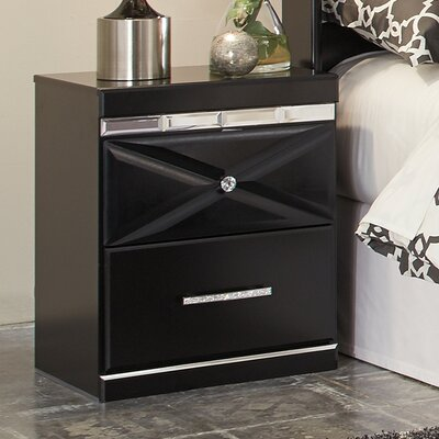 Wylie 2 Drawer Night Stand Color: Black