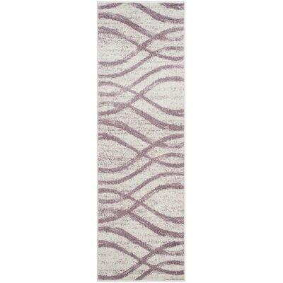 Marlee Cream/Purple Area Rug Rug Size: Runner 26 x 8