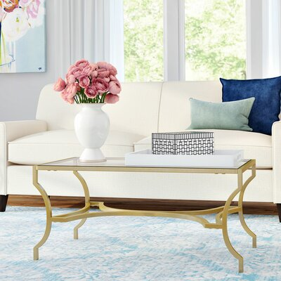Odalis Coffee Table Table Base Color: Gold, Table Top Color: Clear