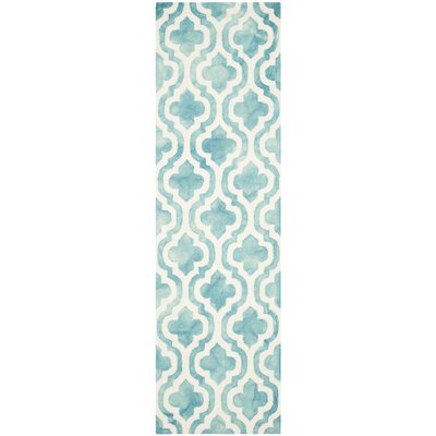 Hand-Tufted Turquoise/Ivory Area Rug Rug Size: Runner 23 x 6