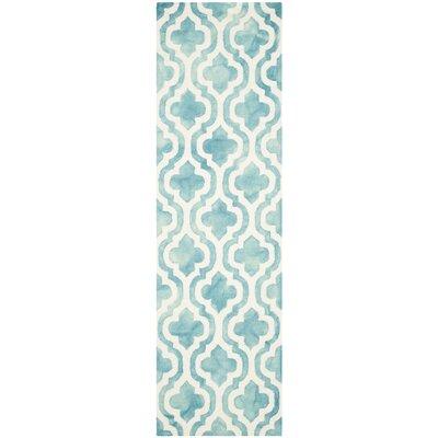 Euphemia Hand-Tufted Turquoise/Ivory Area Rug Rug Size: Runner 23 x 6