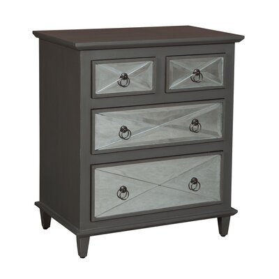 Moira Mirrored Cottage 4 Drawer Nightstand