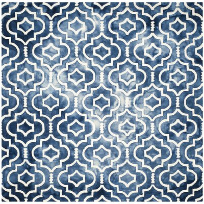 Berman Hand-Tufted Navy/Ivory Area Rug Rug Size: Square 7