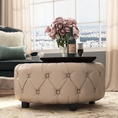Khader Leather Tufted Round Ottoman Upholstery: White