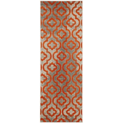 Manorhaven Light Gray/Orange Area Rug Rug Size: Runner 24 x 9