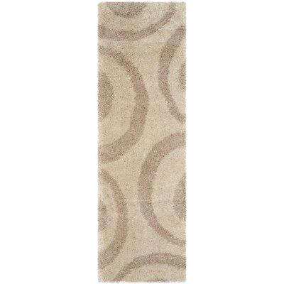 Laplaigne Shag Beige/Ivory Area Rug Rug Size: 4 x 6