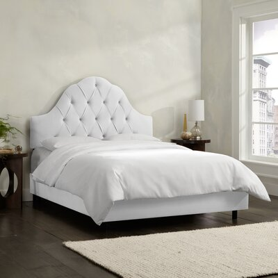 Socorro Upholstered Panel Bed Size: King, Upholstery: Velvet - White