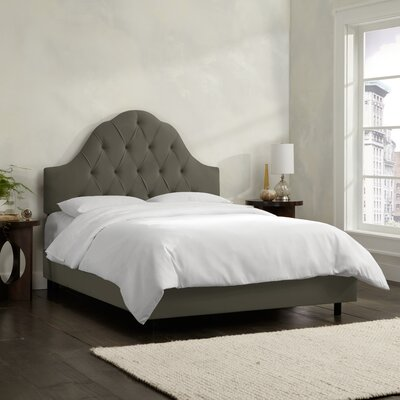 Socorro Upholstered Panel Bed Size: Twin, Color: Velvet - Pewter