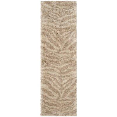 Blumefield Shag Ivory/Beige Area Rug Rug Size: Runner 23 x 7