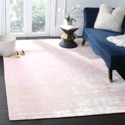 Bratton Hand-Knotted Pink Area Rug Rug Size: 6 x 9