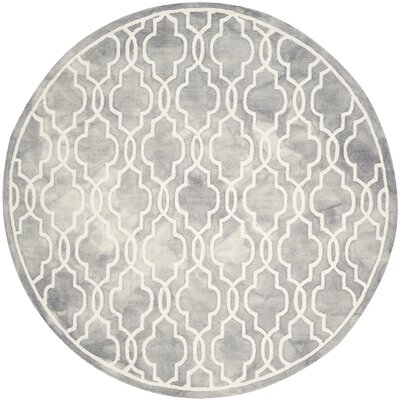 Emestina Hand-Tufted Gray/Ivory Area Rug Rug Size: Round 7